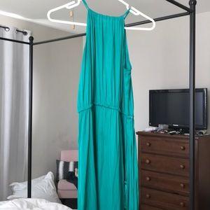 Green silky high neck maxi dress